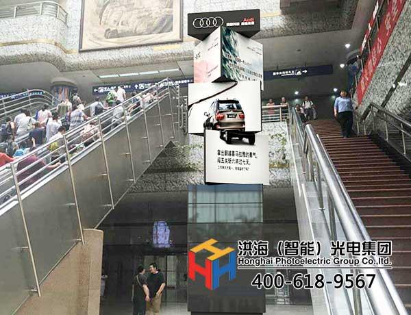 地标建筑高铁站led旋转魔方柱选择应用图片
