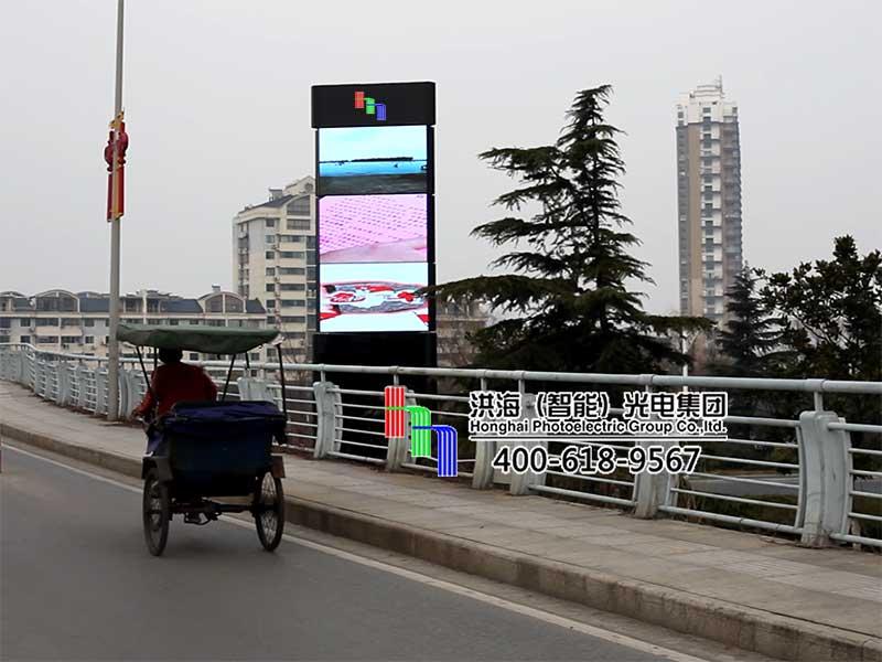 江苏盐城阜宁LED旋转屏魔方柱案例现场图片