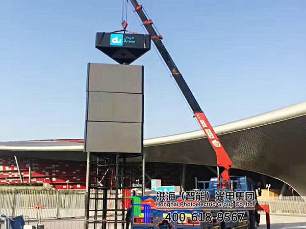 阿联酋阿布扎比LED旋转屏法拉利世界魔方柱案例现场图片