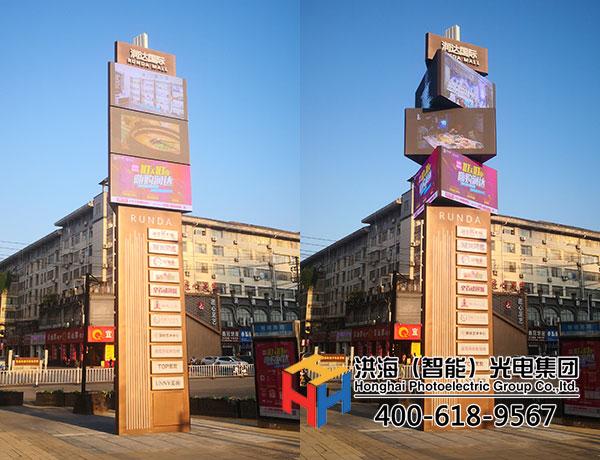 江西宜春户外led魔方柱闪耀商业街区案例现场图
