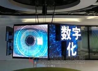 上海室内广告又添新创意—洪海升降矩阵屏图片