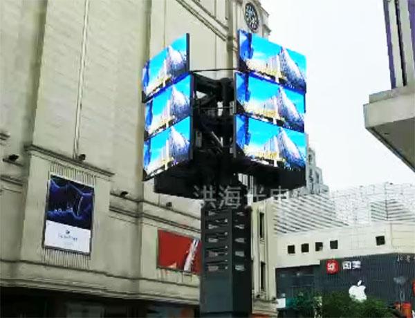 洪海旋转开合屏亮相合肥商业广场施工图片