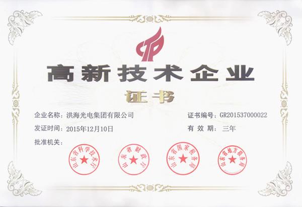 洪海光电集团荣获高新技术企业