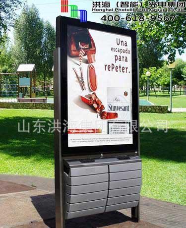 不锈钢材质广告灯箱垃圾桶优势解析