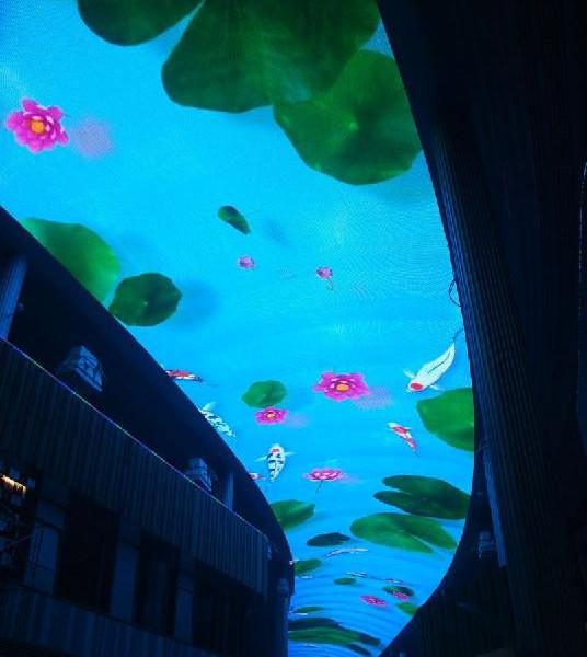 户内LED弧形天幕显示屏效果图