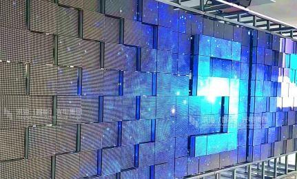 LED伸缩波浪屏_伸缩矩阵显示屏效果图